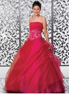 Ball-Gown Strapless Floor-Length Organza Quinceanera Dress With Ruffle Lace Beading Flower(s)