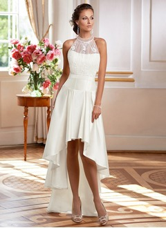 A-Line/Princess High Neck Asymmetrical Satin Wedding Dress With Lace