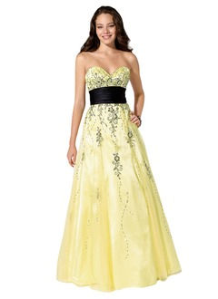 Empire Strapless Sweetheart Floor-Length Organza Satin Prom Dress With Embroidered Sash Beading Bow(s)