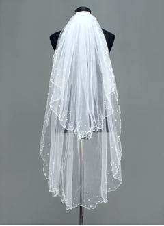 Two-tier Fingertip Bridal Veils With Scalloped Edge (00605003669)