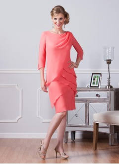 Sheath/Column Scoop Neck Knee-Length Chiffon Mother of the Bride Dress With Ruffle Cascading Ruffles