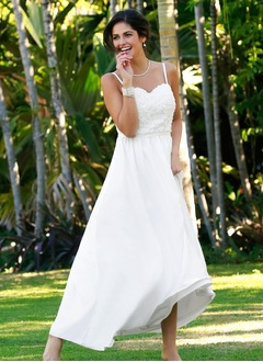 A-Line/Princess Sweetheart Ankle-Length Chiffon Wedding Dress With Flower(s)