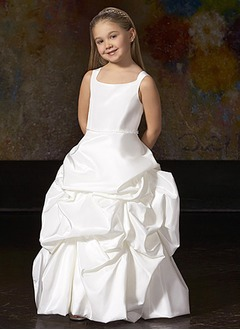 A-Line/Princess Scoop Neck Floor-Length Taffeta Flower Girl Dress With Ruffle