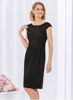 Sheath/Column Scoop Neck Knee-Length Charmeuse Lace Mother of the Bride Dress With Beading