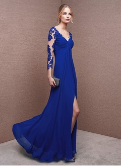 Empire V-neck Floor-Length Chiffon Evening Dress With Ruffle Appliques Lace Split Front