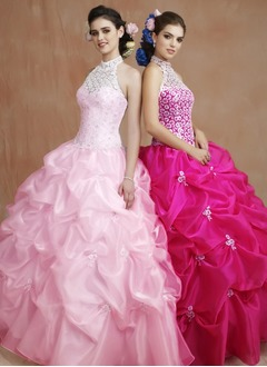 Ball-Gown Halter Floor-Length Organza Quinceanera Dress With Ruffle Lace