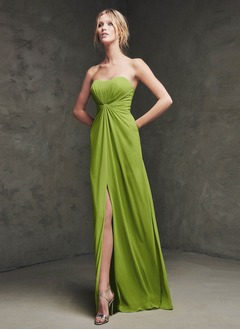 A-Line/Princess Strapless Sweetheart Floor-Length Chiffon Evening Dress With Ruffle Split Front