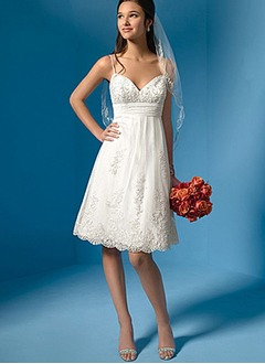 A-Line/Princess Sweetheart Knee-Length Organza Satin Lace Wedding Dress With Ruffle Beading