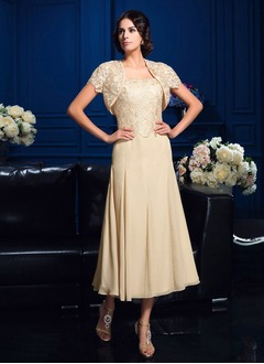 A-Line/Princess Square Neckline Tea-Length Chiffon Lace Mother of the Bride Dress With Ruffle