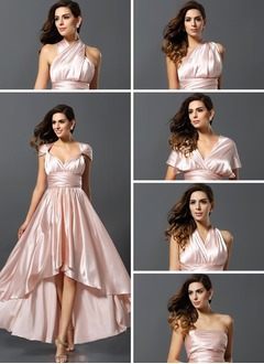 A-Line/Princess V-neck Asymmetrical Charmeuse Bridesmaid Dress