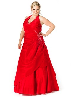Ball-Gown Halter Floor-Length Taffeta Evening Dress With Ruffle Beading