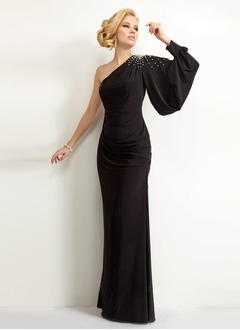 Sheath/Column One-Shoulder Floor-Length Chiffon Evening Dress With Ruffle Beading
