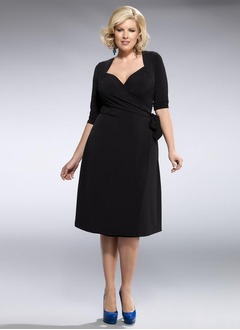 A-Line/Princess V-neck Knee-Length Jersey Mother of the Bride Dress With Ruffle