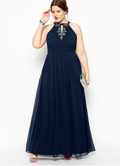 A-Line/Princess Halter Floor-Length Chiffon Evening Dress  ...