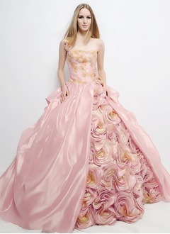 Ball-Gown One-Shoulder Floor-Length Charmeuse Quinceanera Dress With Ruffle Beading Appliques Lace Flower(s)