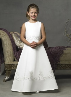 A-Line/Princess Scoop Neck Floor-Length Satin Flower Girl Dress With Lace