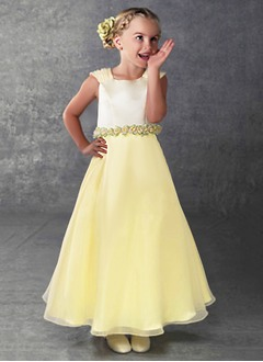 A-Line/Princess Scoop Neck Floor-Length Organza Satin Flower Girl Dress With Ruffle Flower(s)