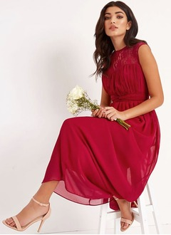 A-Line/Princess Scoop Neck Floor-Length Chiffon Bridesmaid Dress With Ruffle Appliques Lace