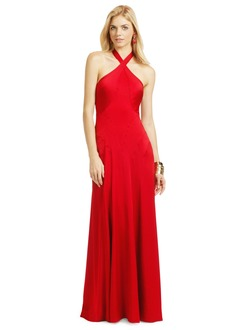 Sheath/Column Halter Floor-Length Satin Evening Dress With Ruffle