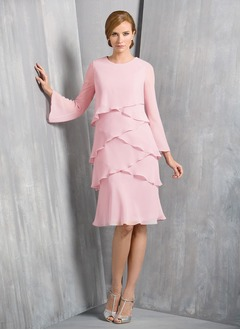 A-Line/Princess Scoop Neck Knee-Length Chiffon Mother of the Bride Dress With Cascading Ruffles