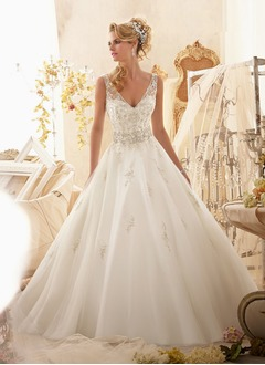 Ball-Gown V-neck Chapel Train Organza Wedding Dress With Beading Appliques Lace