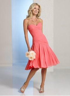A-Line/Princess Strapless Sweetheart Knee-Length Chiffon  ...