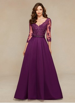 A-Line/Princess V-neck Sweep Train Satin Tulle Evening Dress With Beading Appliques Lace