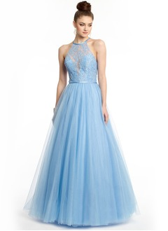 A-Line/Princess Halter Floor-Length Tulle Lace Prom Dress With Beading