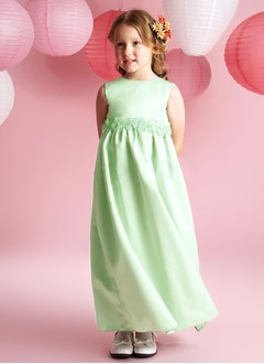 A-Line/Princess Scoop Neck Ankle-Length Satin Flower Girl Dress