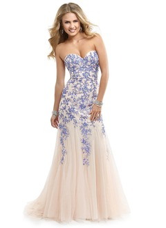 Trumpet/Mermaid Strapless Sweetheart Sweep Train Tulle Lace Prom Dress With Beading Appliques Lace