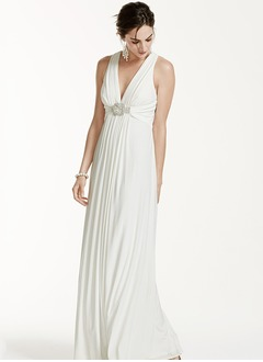 A-Line/Princess V-neck Floor-Length Chiffon Wedding Dress With Ruffle Crystal Brooch