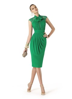 Sheath/Column High Neck Knee-Length  ...