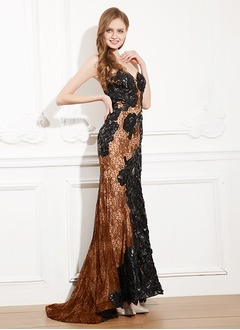 Trumpet/Mermaid Strapless Sweetheart Sweep Train Satin Evening Dress With Appliques Lace