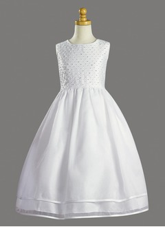 A-Line/Princess Scoop Neck Floor-Length Organza Satin Flower Girl Dress With Beading