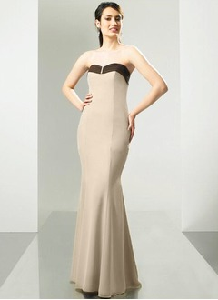 Trumpet/Mermaid Strapless Sweetheart Floor-Length Chiffon Bridesmaid Dress With Sash