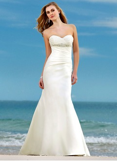 Trumpet/Mermaid Strapless Sweetheart Court Train Satin Wedding Dress With Ruffle Beading