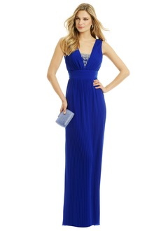 Sheath/Column V-neck Floor-Length Chiffon Evening Dress With Ruffle Beading Pleated