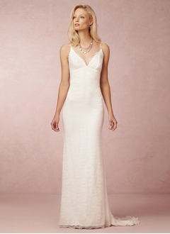 Sheath/Column V-neck Sweep Train Chiffon Lace Wedding Dress