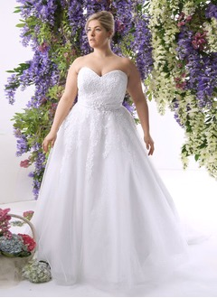 Ball-Gown Strapless Sweetheart Sweep Train Tulle Wedding Dress With Appliques Lace Sequins
