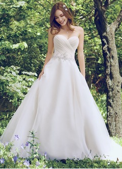 Ball-Gown Strapless Sweetheart Court Train Organza Wedding Dress With Ruffle Beading