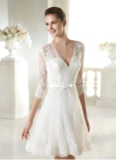 A-Line/Princess V-neck Knee-Length Lace Wedding Dress With  ...