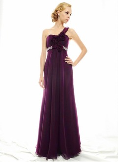 A-Line/Princess One-Shoulder Floor-Length Chiffon Charmeuse Evening Dress With Beading