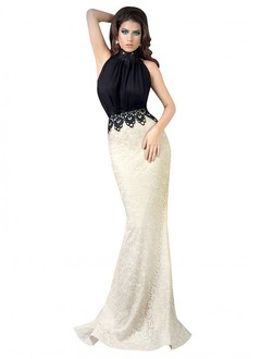 Trumpet/Mermaid High Neck Sweep Train Charmeuse Lace Evening Dress With Beading Appliques Lace