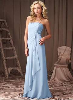 A-Line/Princess Strapless Floor-Length Chiffon Bridesmaid Dress With Lace Beading Cascading Ruffles
