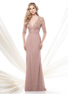 A-Line/Princess V-neck Sweep Train Chiffon Mother of the Bride Dress With Ruffle Lace Beading
