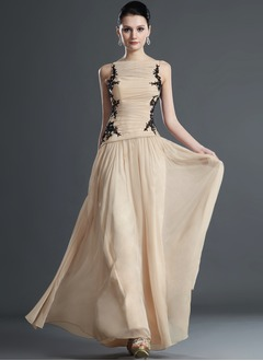 A-Line/Princess Scoop Neck Floor-Length Chiffon Evening Dress With Embroidered Ruffle Lace