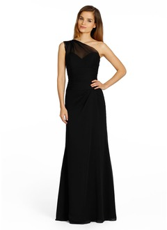 Sheath/Column One-Shoulder Floor-Length Chiffon Evening Dress With Lace