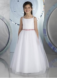A-Line/Princess Scoop Neck Floor-Length Satin Tulle Flower Girl Dress With Lace Beading