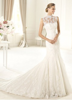 Trumpet/Mermaid High Neck Court Train Satin Lace Wedding Dress With Beading