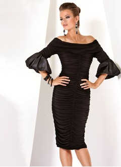 Sheath/Column Off-the-Shoulder Knee-Length Jersey Cocktail  ...